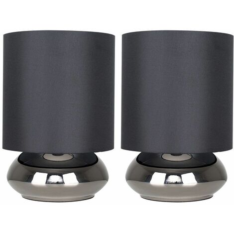 2 x Black Chrome Touch Dimmer Table Lamps + Stunning Black Fabric Shades