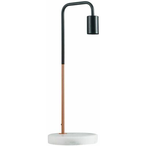 2 x Black & Copper Metal Table Lamps White Marble Base - No bulbs