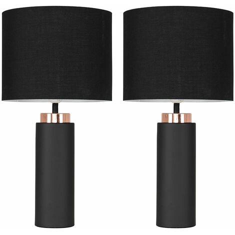 2 x Black / Copper Table Lamps + Black Shade 4W LED Bulbs Warm White