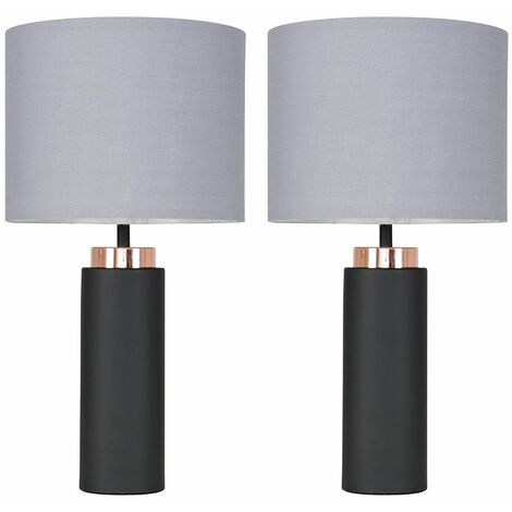 2 x Black / Copper Table Lamps + Grey Shade 4W LED Bulbs Warm White