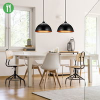 2 x Black Industrial Vintage LED Pendant Light Ceiling Lampshade Light Fitting for Living Room Kitchen, 30.5cm Diameter