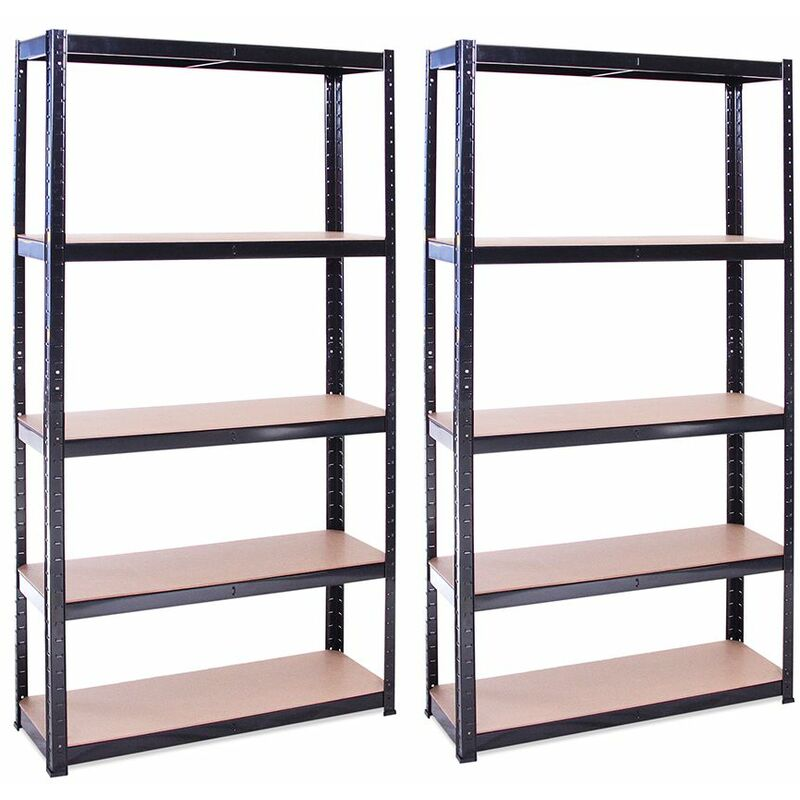 Image of 2 x Black Metal 5 Tier Garage Shelves Shelving Unit Racking Storage 180x90x30cm - G-RACK