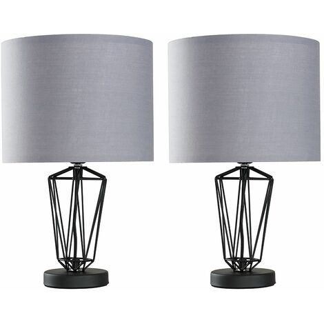 2 x Black Metal Wire Frame Table Lamps - Grey - Black