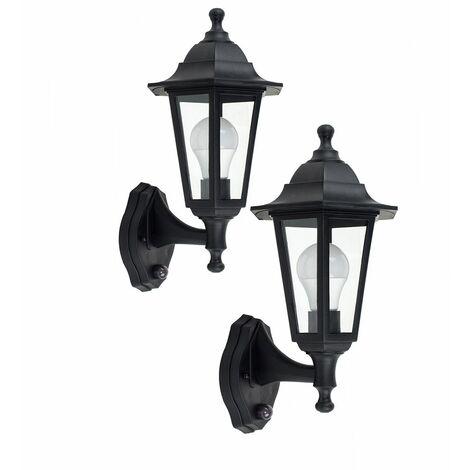 2 x Black Outdoor Pir Motion Sensor Ip44 Wall Light Lanterns + 10W LED Gls Bulbs - Warm White