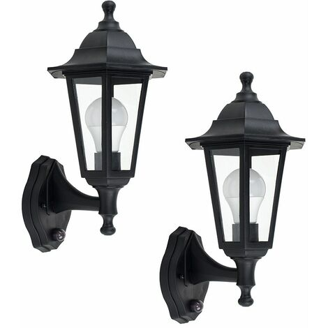 "main image of ""2 x Black Outdoor Security Pir Motion Sensor Ip44 Wall Light Lanterns"""