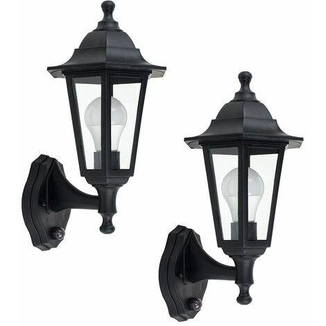 2 x Black Outdoor Security Pir Motion Sensor Ip44 Wall Light Lanterns - Black