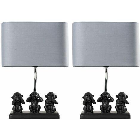 2 x Black Three Wise Monkeys Table Lamps Grey Shade - No Bulb - Black