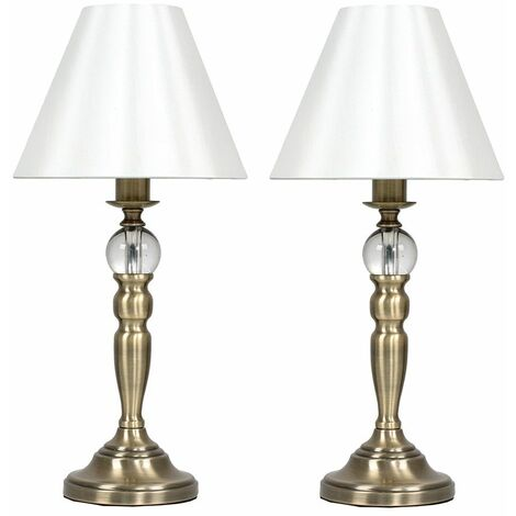 2 x Brass Touch Dimmer Table Lamps & Cream Shade - No Bulb - Gold