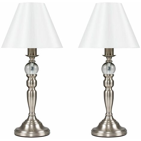 2 x Brushed Chrome Touch Table Lamps & a Cream Shade - Add LED Bulbs - Silver
