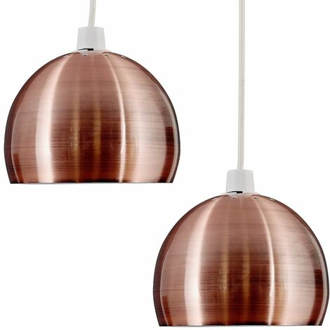 2 x Brushed Copper Arco Ceiling Pendant Light Shades + 10W LED Gls Bulbs Warm White - Copper