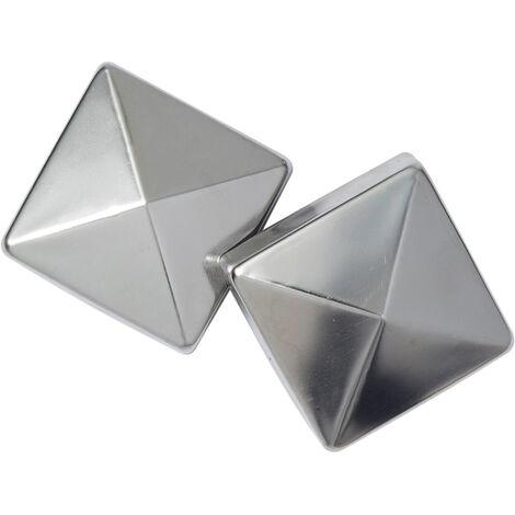 2 x Capuchons-Chapeaus de Poteau cloture-INOX - 9X9cm- lot de 2 piéces