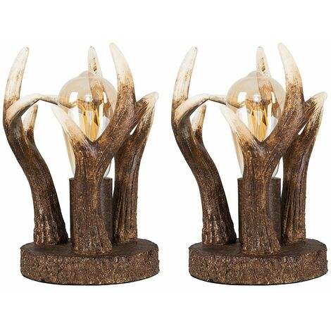 2 x Caribou Antler Table Lamps In A Rustic Natural Finish