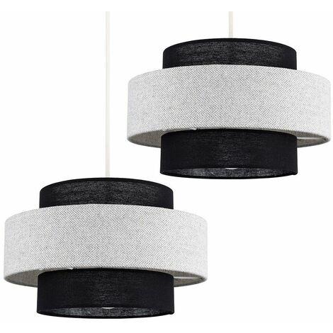 2 x Ceiling Pendant Light Shades Black & Grey Herringbone - No Bulbs