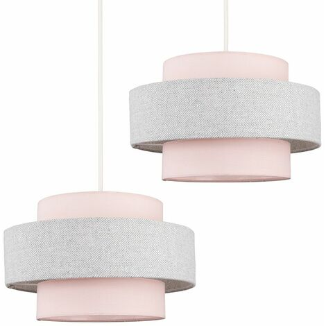 2 x Ceiling Pendant Light Shades In A Pink & Grey Herringbone Finish
