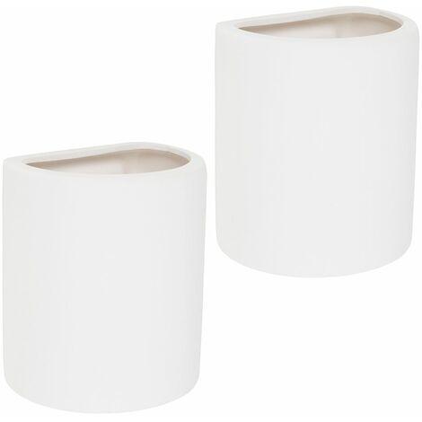 2 x Ceramic Up / Down Wall Lamps White Finish + 2 x 4W LED Ses E14 Golfball Bulbs - Warm White