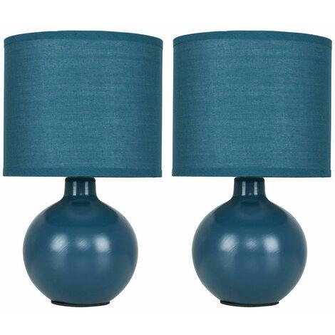 2 x Cermic Table Lamps + 4W LED Candle Bulb - Pale Blue