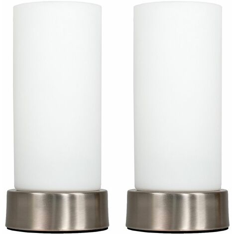 2 x Chrome Bedside Table Lamps + White Glass Shade - Silver