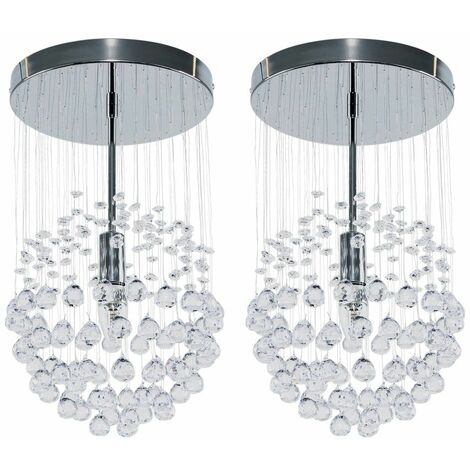 2 x Chrome Ceiling Lights + Suspended Clear Acrylic Droplets
