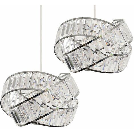 2 x Chrome & Clear Acrylic Jewel Ring Ceiling Pendant Light Shades - No Bulbs