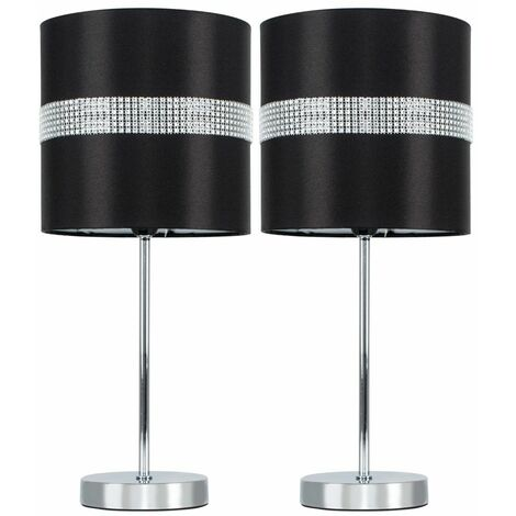 2 x Chrome Dimmable Touch Dimmer Table Lamps + Black & Silver Diamante Jewel Shades