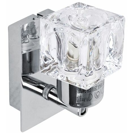 2 x Chrome Glass Ice Cube Indoor Wall Lights Lamps Lighting