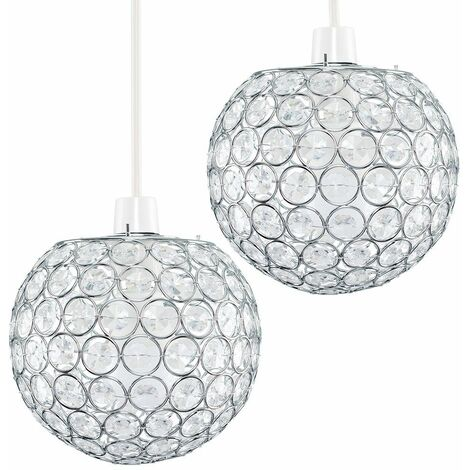 2 x Chrome Globe Ceiling Light Shades + Acrylic Crystal Jewels