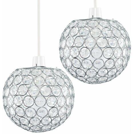 2 x Chrome Globe Ceiling Light Shades + Acrylic Crystal Jewels - Silver