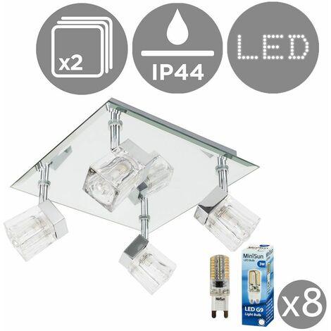 2 x Chrome Ice Cube 4 Way Ip44 Bathroom Ceiling Light Spotlights + 8 x 3W Cool White G9 LED Light Bulbs