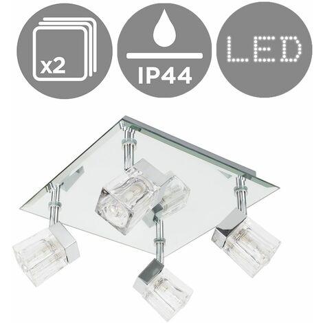 2 x Chrome Ice Cube 4 Way Ip44 Bathroom Ceiling Light Spotlights - Silver