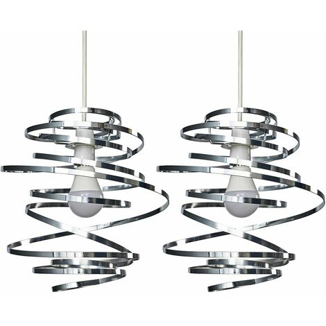 2 x Chrome Metal Double Ribbon Spiral Swirl Ceiling Light Shades - No Bulbs - Silver