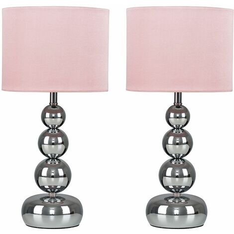 2 x Chrome Stacked Ball Touch Table Lamps + Pink Shade + 5W LED Dimmable Bulbs Warm White