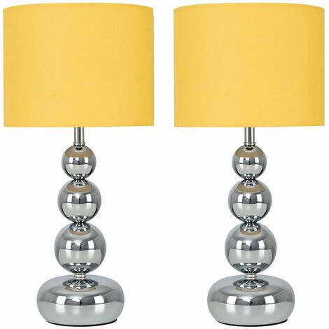2 x Chrome Stacked Balls Touch Table Lamps + Mustard Shade + 5W LED Dimmable Bulbs Warm White - Silver