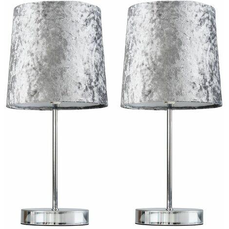 2 x Chrome Table Lamps 4W LED Bulbs Warm White - Grey - Silver