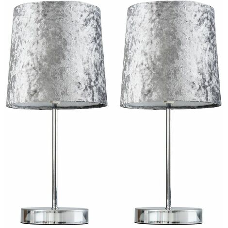 2 x Chrome Table Lamps - Grey - Silver