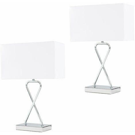 2 x Chrome Table Lamps + White Rectangular Shade - LED Bulbs - Silver