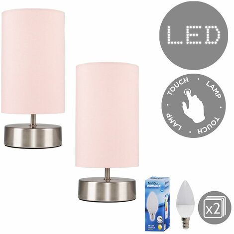 2 x Chrome Touch Dimmer Bedside Table Lamps + Pink Light Shades 5W LED Candle Bulbs - Warm White - Silver