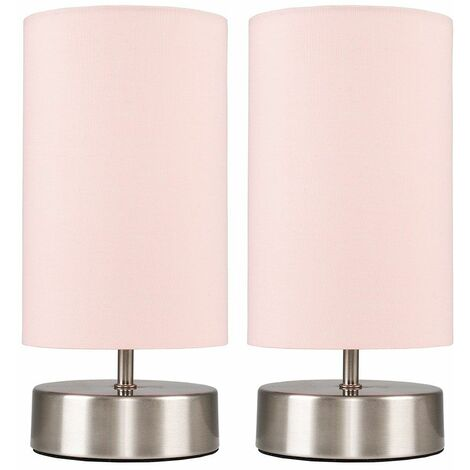 2 x Chrome Touch Dimmer Bedside Table Lamps + Pink Light Shades - Silver