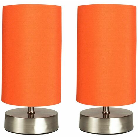 2 x Chrome Touch Dimmer Bedside Table Lamps with Light Shades - White - Silver