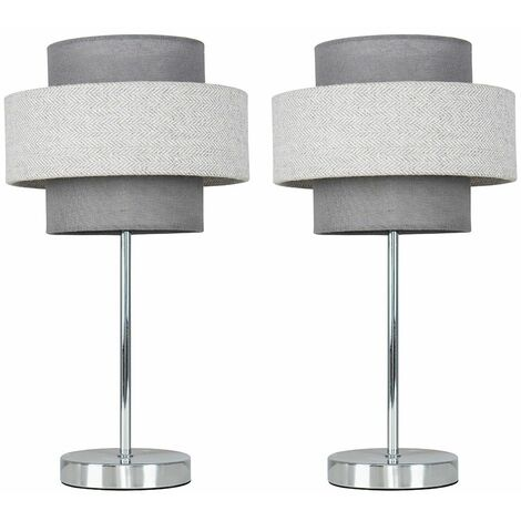 2 x Chrome Touch Table Lamps + Dark Grey & Light Grey Herringbone Shade - Silver