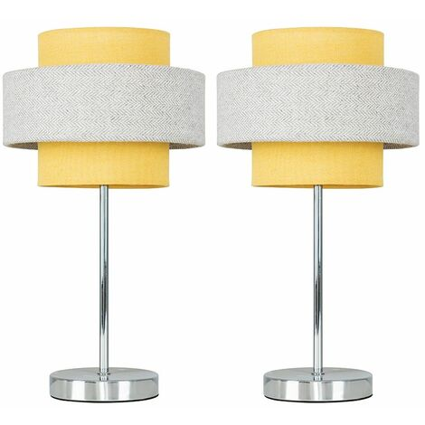 2 x Chrome Touch Table Lamps + Mustard & Grey Herringbone Shade
