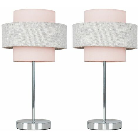 2 x Chrome Touch Table Lamps + Pink & Grey Herringbone Shade