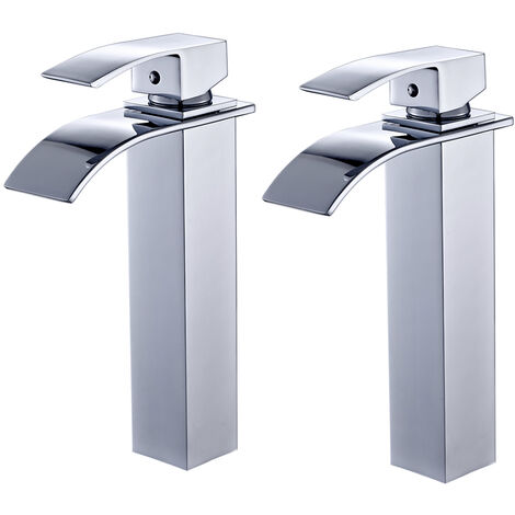 """2 x Chrome Waterfall Basin Sink Mixer Tap Bathroom Lever Single Handle Brass Faucet, Height 11"""""""