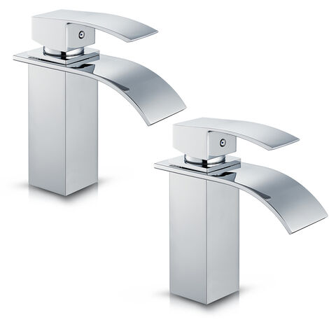 """2 x Chrome Waterfall Basin Sink Mixer Tap Bathroom Lever Single Handle Brass Faucet, Height 7"""""""
