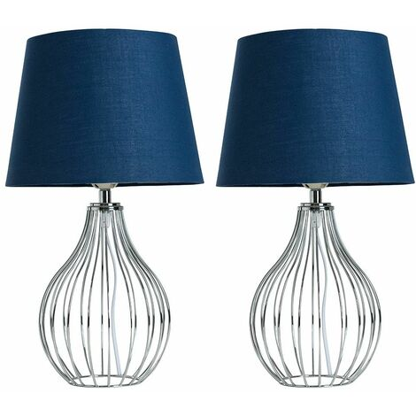 2 x Chrome Wire Basket Table Lamps + Navy Blue Shade 4W LED Bulbs Warm White