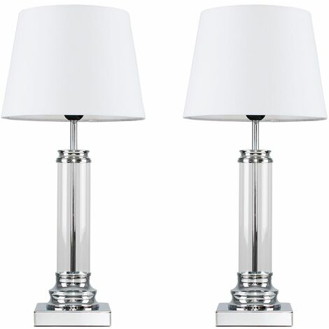 2 x Clear Glass Column Touch Table Lamps with White Shades - Add LED Bulbs - Silver