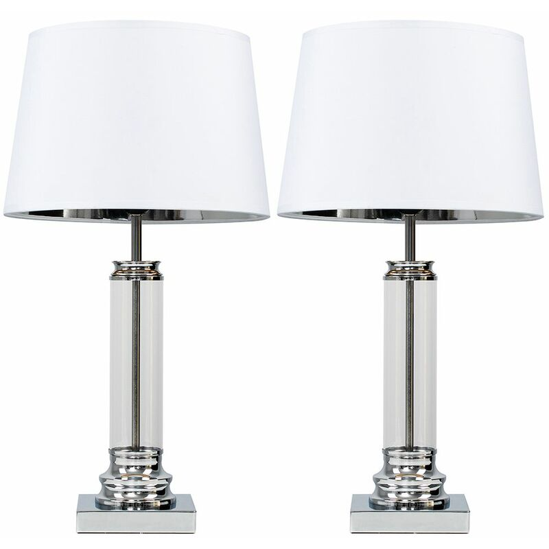2 X Clear Glass Column Touch Table Lamps With White Silver Tapered Shades