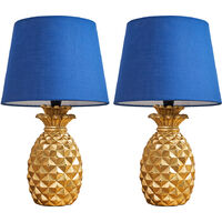2 x Contemporary Pineapple Table Lamps in Gold with Navy Blue Tapered Shades