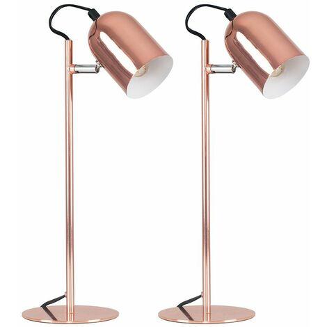 2 x - Copper Adjustable Bedside Desk Table Lamps