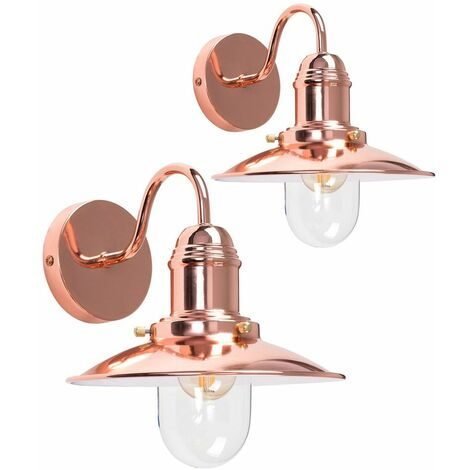 2 x - Copper Effect Metal & Glass Lantern Wall Lights