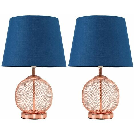 2 x Copper Mesh Ball Touch Table Lamps With Navy Blue Light Shades